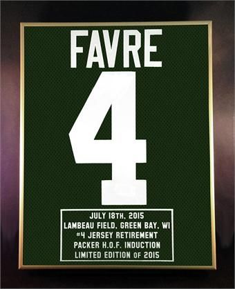 Brett Favre Jersey Retirement & Packers Hall of Fame Induction Commemorative Piece.