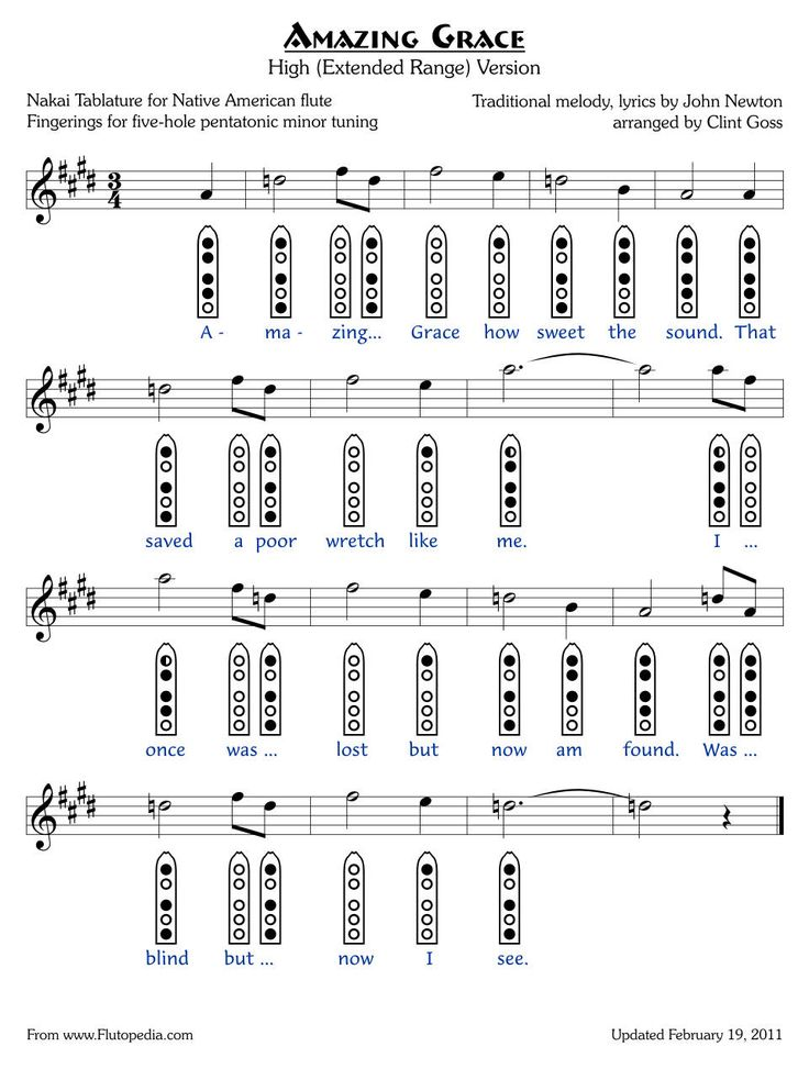 Amazing Grace - High Version - five-hole Pentatonic Minor - not necessarily what I want to play but good for practice
