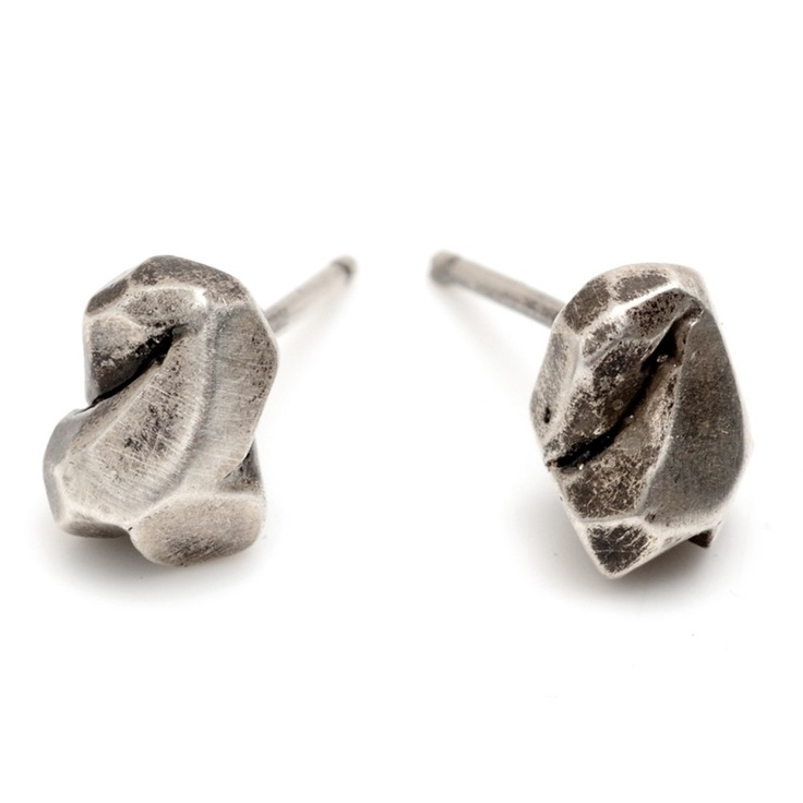 Rock Stud Earrings: Recycled Oxidized Sterling Silver