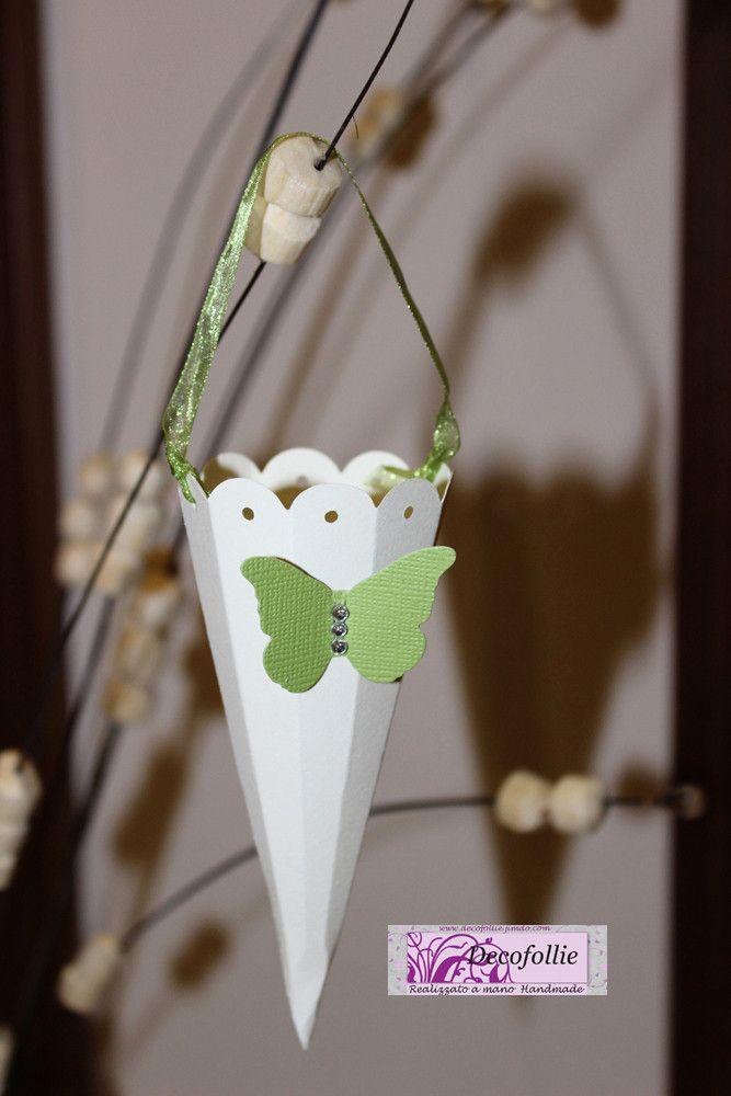 cono riso o confettata avorio verde farfalla