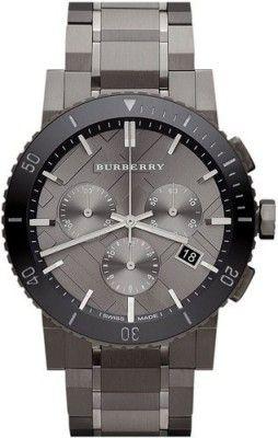 Relógio Burberry Chronograph Gunmetal Dial Grey Ion-plated Stainless Steel Mens Watch BU9381 #Relogio #Burberry