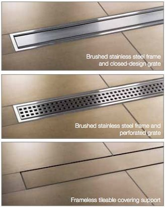 Kerdi Line by Schluter Systems - Linear shower drain in either stainless steel or matching tile for a nearly invisible drain. Perfect for Open-Concept showers w/ no door ~ http://walkinshowers.org/best-shower-drain-reviews.html