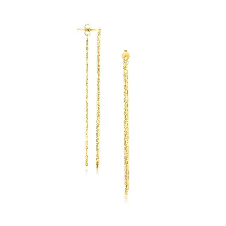 14K Yellow Gold Double Chain Strand Drop Earrings