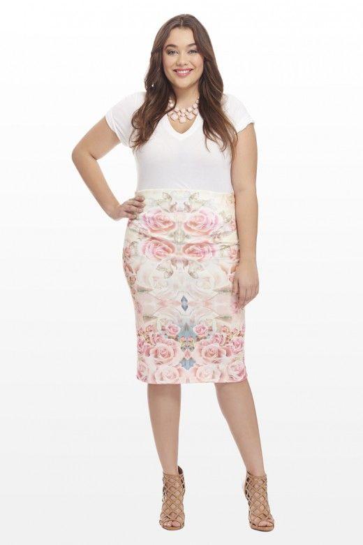 Plus Size Versailles Scuba Rose Skirt