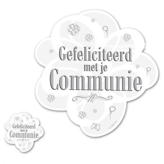 4 stuks witte eerste heilige communie placemats met de tekst Gefeliciteerd met je Communie. Deze placemats kunnen niet ontbreken op uw communie feestje.
