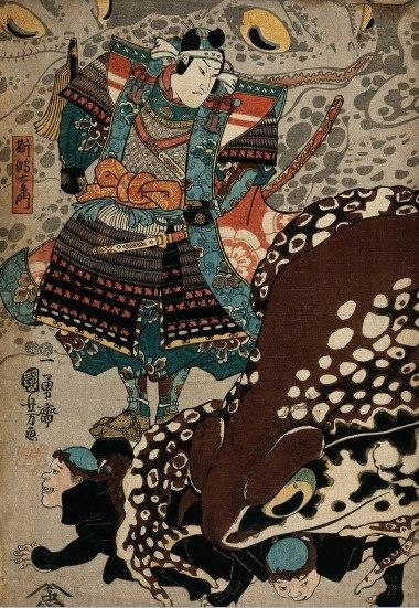 A samurai looks on as a giant frog runs over the menials by Utagawa Kuniyoshi, 1847-1848. The Wellcome Library, CC BY