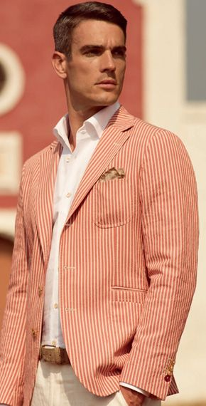 Men's Cream and Coral Stipe Linen Blazer, pressed White Shirt, Khaki Pants, and Paisley Pocket Square. Men's Spring/Summer Street Style. Would look perfect with a Clayton & Crume leather belt.