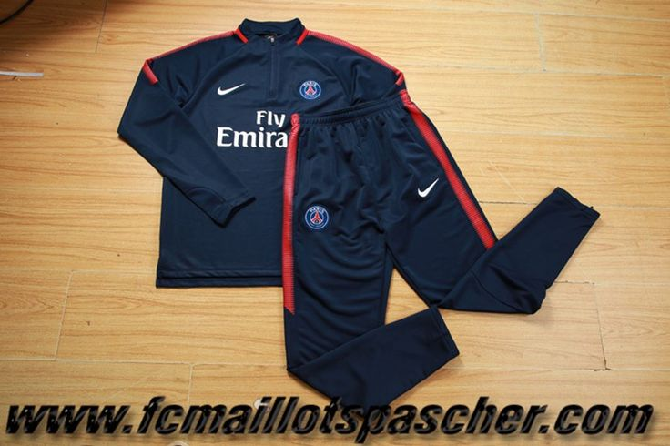Homme Ensemble Survetement Nike foot 2017 2018 PSG Bleu Marine Replica