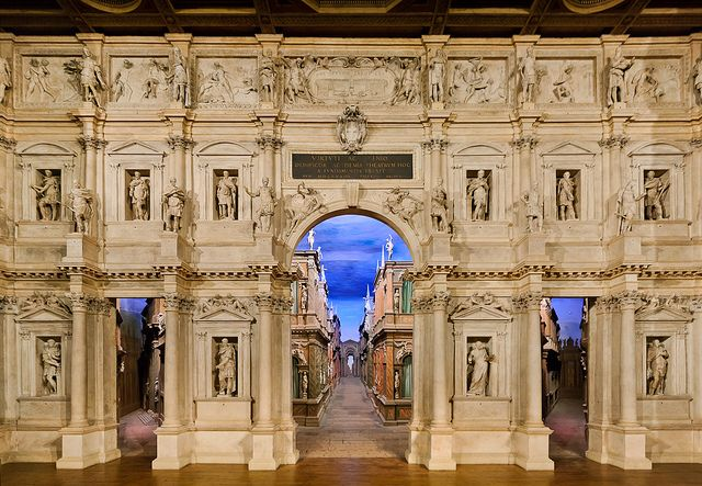 Teatro Olimpico in Vicenza:  the oldest enclosed theater in the world.