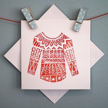 Red Winter Woolly Linocut Card