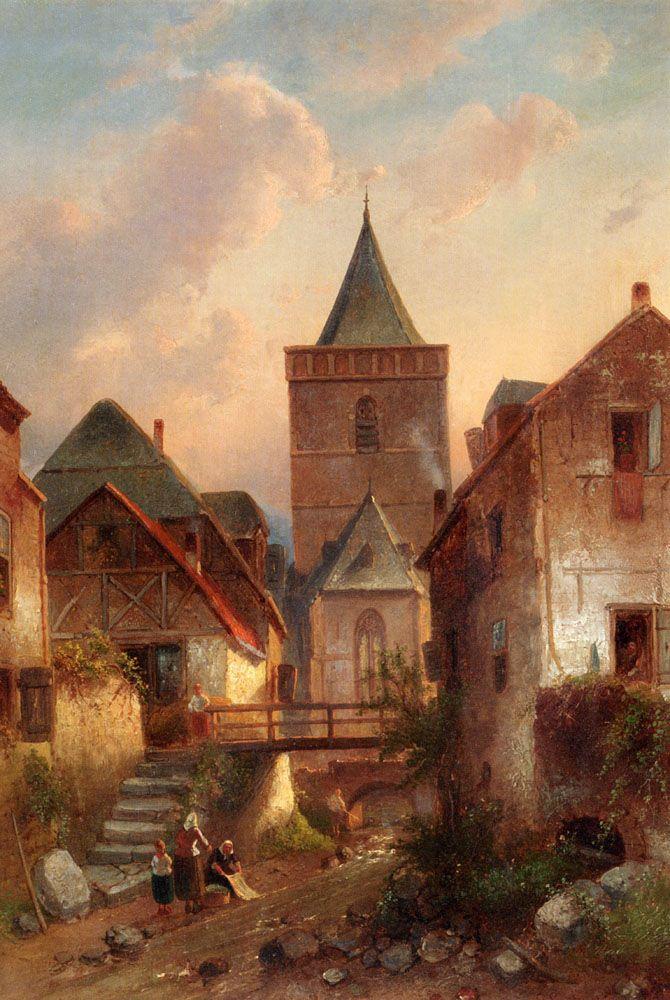 View In A German Village With Washerwomen Painting by Charles Henri Joseph Leickert - Oceans Bridge