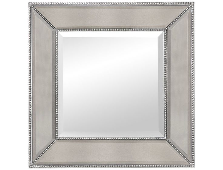 Bassett mirror hollywood glam 24 x 24 silverleaf beaded for Leaning wall mirror