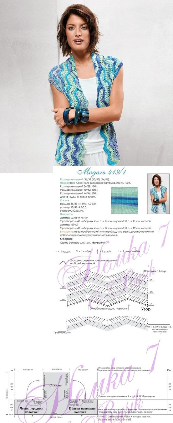 sweet crochet ripple vest! - do some ripples in a T shape and assemble the sides! that's all!!