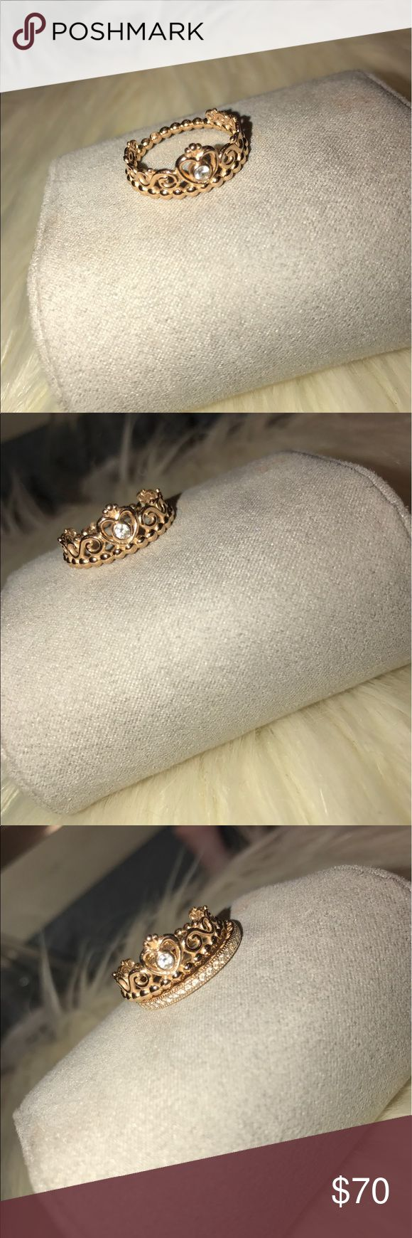 My Princess Tiara Ring, PANDORA Rose™ Rose gold princess ring, when I bought it, I got it with the ring in the last picture that's why I included that picture. I don't think it looks complete without it, but I can sell them separately Pandora Jewelry Rings