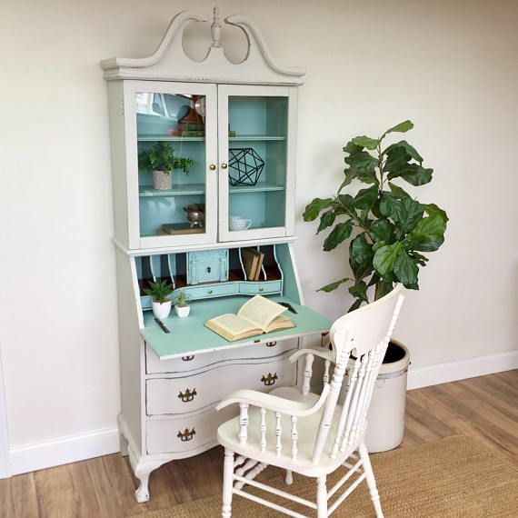 Antique Secretary Desk with Hutch Home Office Furniture - painted furniture #ad
