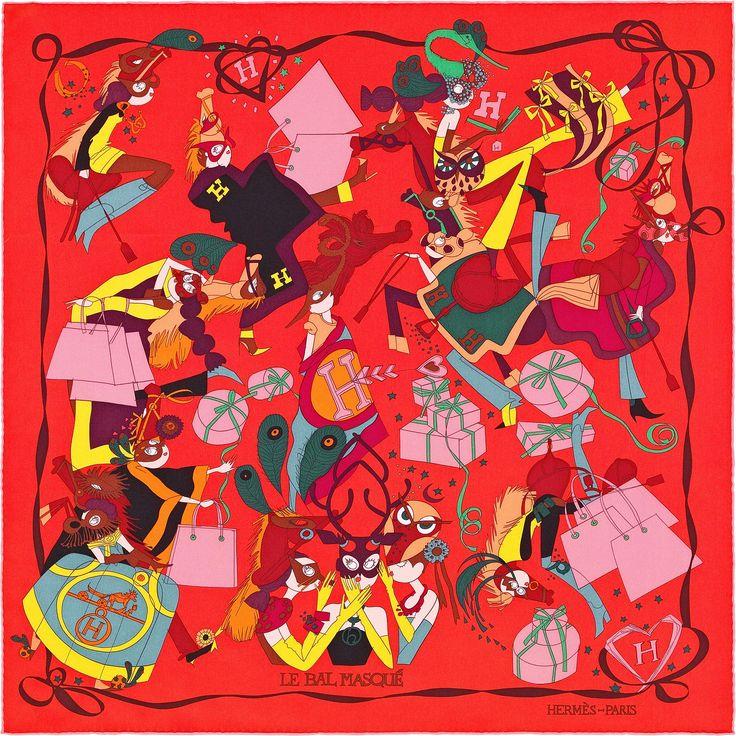 Carré 70 Hermès | Le Bal Masqué by Saw Keng HISTOIRE DU DESSIN : Un bal masqué : n'est-ce pas là le lieu rêvé pour se métamorphoser ? Les jeunes filles dont Saw Keng conte par le dessin les aventures nous sont devenues familières. Leurs yeux immenses, leur silhouette gracile, leur fantaisie… Facétieuses, elles n'ont de cesse de se mettre en scène. Bal des rois et des reines, Bal des artistes, Bal des masques et des dominos : c'est un peu l'esprit de ces grandes fêtes parisiennes des années…