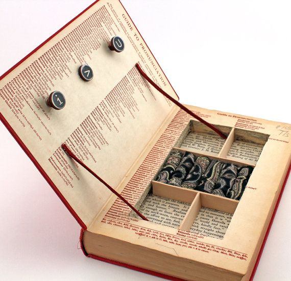 """Vintage Book Jewelry Box. Unique, Recycled. """"A Handbook To Literature."""" Wooden Typewriter Keys. Handmade by Kiss Every Comma on Etsy."""