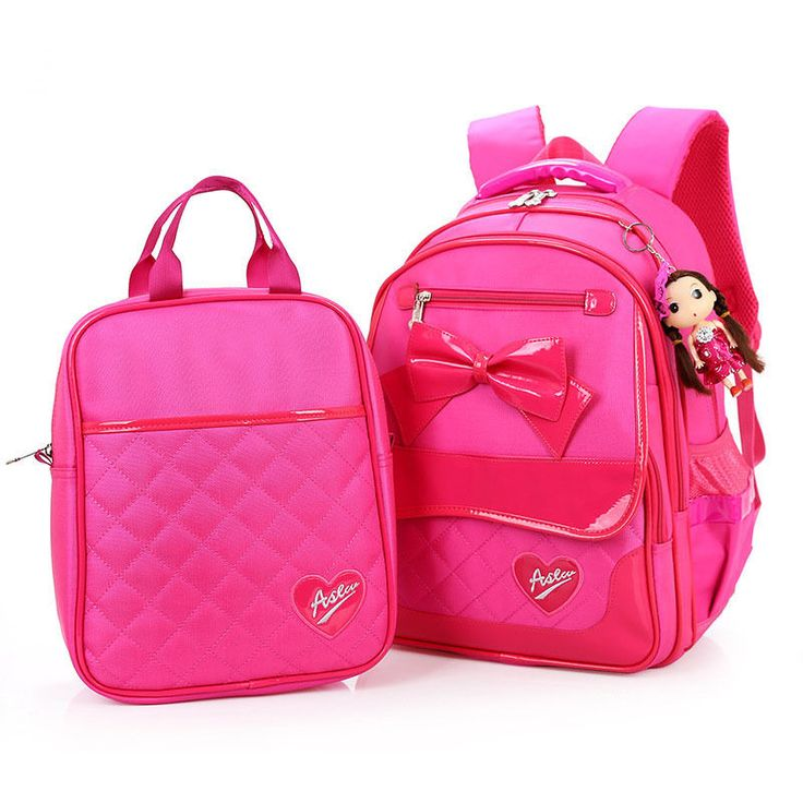 2Pcs/Set School Bag Girls Bow Cute Women Backpack Lunch Bag Boys School Backpack