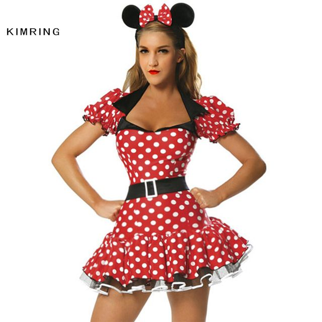 Kimring Sexy Minnie Mouse Traje de Halloween Traje Cosplay Traje Fantasia Impertinente Adulto Conto de Fadas Do Traje Vestido para As Mulheres