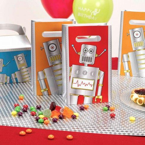 Set van 5 kleurrijke zakjes die je kan deze gebruiken als bedankje of snoepzakje. Vul ze met futuristisch snoep of een speeltje in de vorm van een robot en je hebt het ideale cadeautje voor de genodigden!