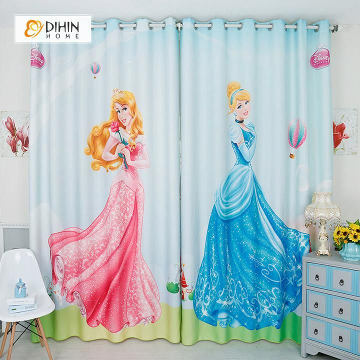 Dihin Home 3d Printed Princess Blackout Curtains Window Curtains Grommet Curtain For Living Room 39x102 Inch 2 Panels Included Childrens Curtains Kids Curtains Cool Curtains