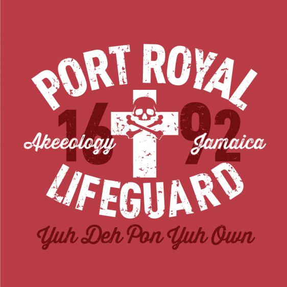 PORT ROYAL LIFEGUARD. In 1692, the Pirate Paradise, Sin City, otherwise named Port Royal, Jamaica, was hit with a massive earthquake and a series of tidal waves, which leveled the then wicked capital of the island. Since then you are the self appointed Port Royal Lifeguard letting those take heed, sink or swim but 'Yuh Deh pon yuh Own'. A classic-fitting basic t-shirt with feminine styling. Design is printed soft to the touch. Available in Red and Blue.  #Jamaican #patois
