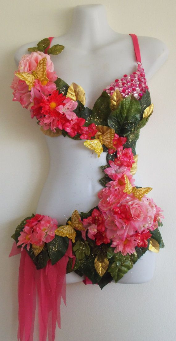 Pink Fairy Monokini Rave Outfit Pink Flowers by SugarRoxCouture, $185.00