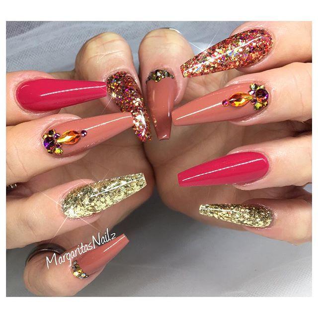 Fall fashion nail design coffin nails Swarovski and glitter