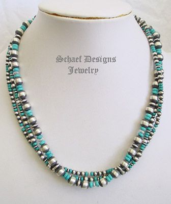 Turquoise & Sterling Silver Navajo Pearl 3 Strand Necklace  | Schaef Designs   | New Mexico