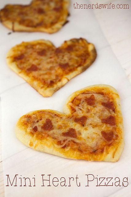 Mini Heart Pizzas by thenerdswife, via Flickr
