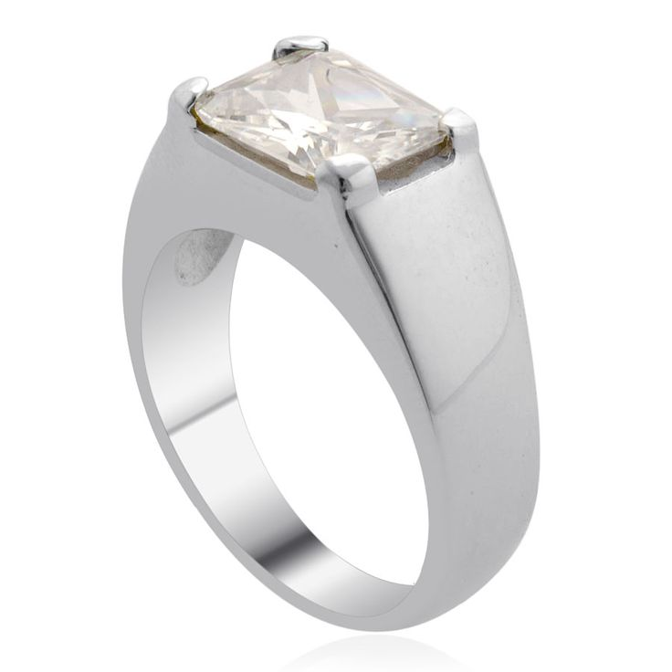Liquidation Channel | Simulated White Diamond Men's Ring in Stainless Steel