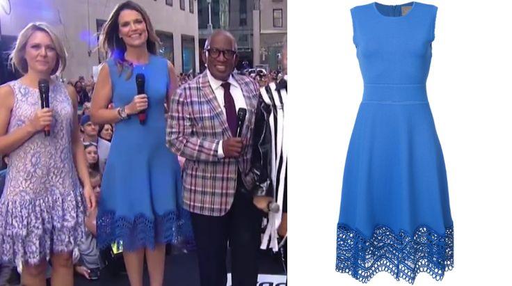 Savannah Guthrie's Blue Lace Trim Dress on the Today Show September 22, 2017 http://www.bigblondehair.com/savannah-guthries-blue-dress-lace-hem/ #Today #TodayShow