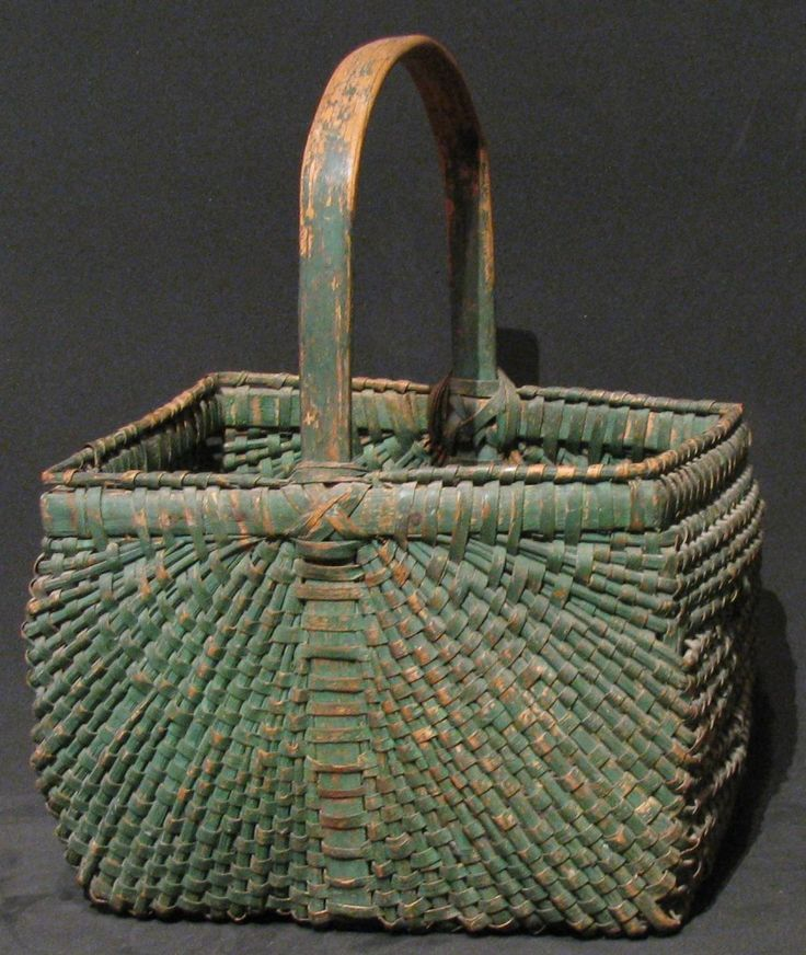 Southern Square Market Basket. Woven Splint Oak(?) with Double Rim, Painted Green. Shenandoah Valley, Virginia (Attributed). 13″.