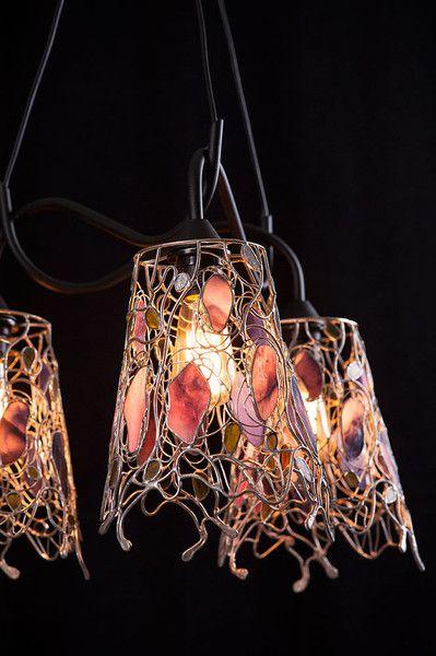 LAMPA POTRÓJNA WISZĄCA ''AŻUR FIOLETU'' w Ni'Finn Handmade na DaWanda.com