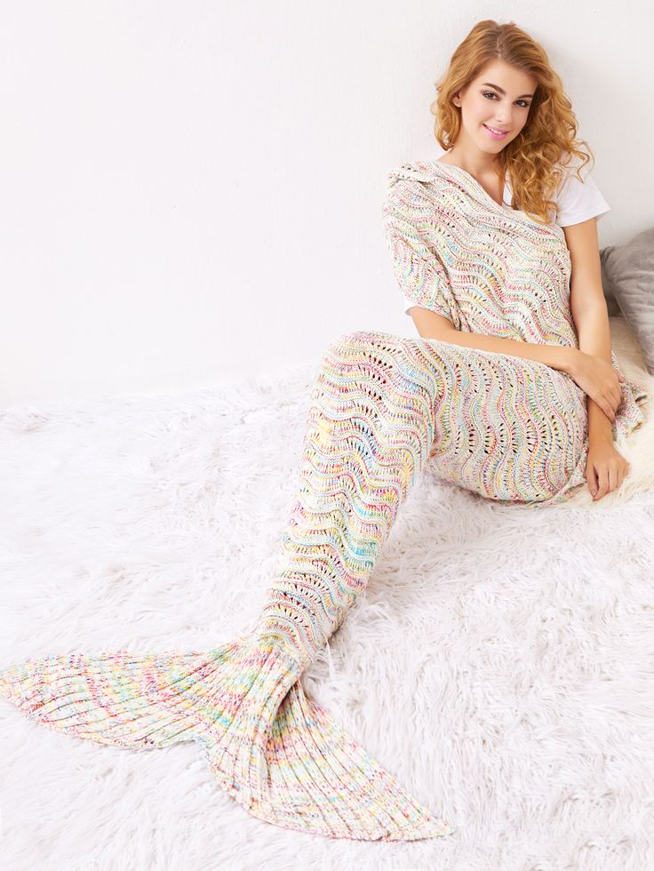 Shop Multicolor Crocheted Hollow Out Mermaid Blanket online. SheIn offers Multicolor Crocheted Hollow Out Mermaid Blanket & more to fit your fashionable needs.