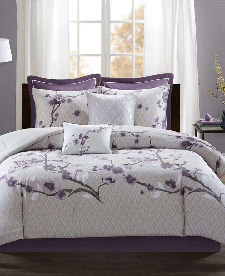 Madison Park Holly 8 Pc California King Comforter Set Reviews Comforter Sets Bed Bath Macy S Bedding Sets Comforter Sets Duvet Cover Sets Purple california king comforter sets