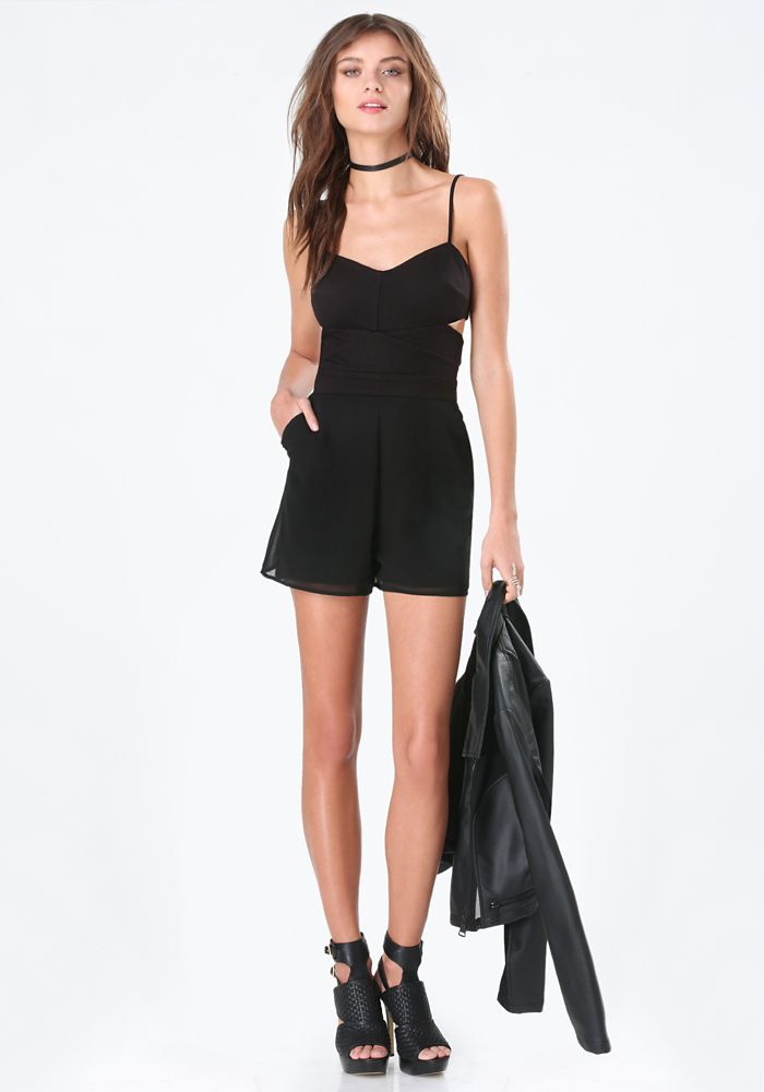 STYLE # 263980 MIX FABRIC CUTOUT ROMPER - 2D4 jersey romper detailed by sizzling side cutouts and dreamy georgette shorts.