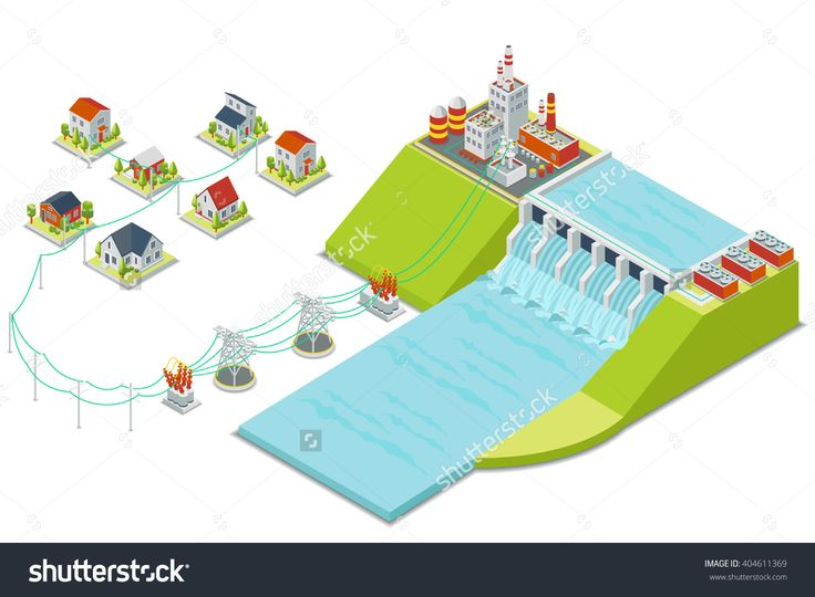 Hydro Power Plant. 3d Isometric Electricity Concept. Energy Electric…