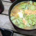 Pittige Senegalese curry en pinda soep met verse koriander, chili en witte rijst – wel zo lekker