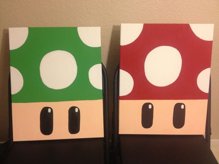 I painted the mushrooms from the Super Mario games for my sister's video game room. - Imgur
