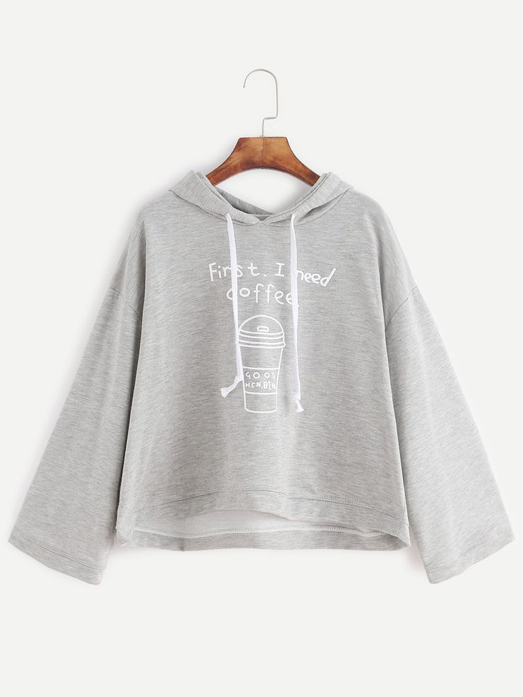 15$  Watch here - http://dix24.justgood.pw/go.php?t=13006 - Grey Coffee Cup Print Hooded Sweatshirt 15$