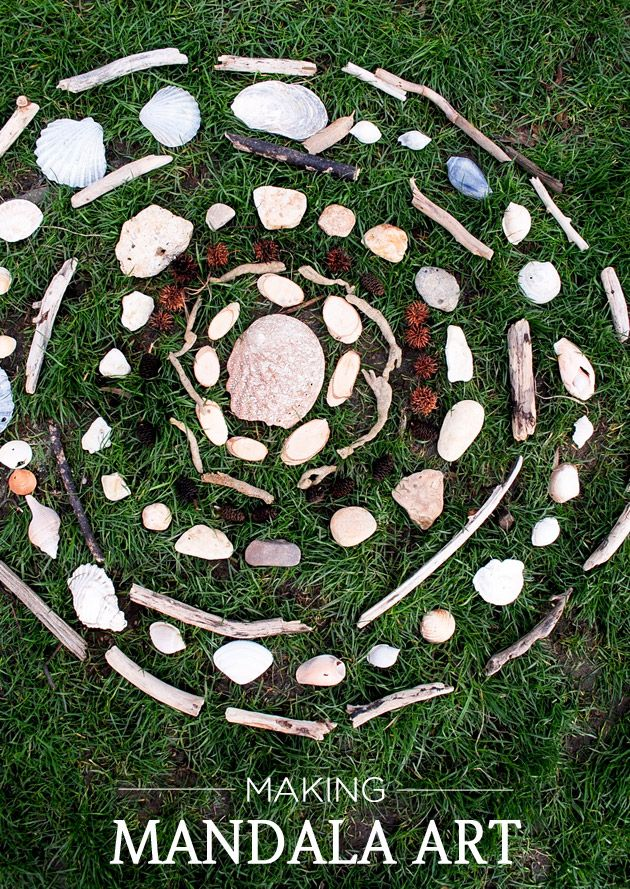Mandala art. using things found in nature. outdoor activity. could be good way to entertain the kids for a bit while camping.