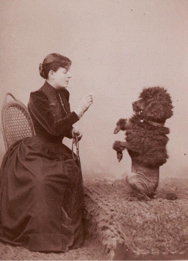 Lady & pet. Early 1890s Tempus fugit....mors venit...