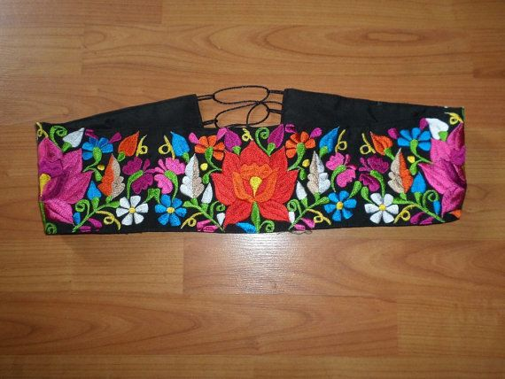Beautiful Mexican belt embroidered. Directly from by LaMexicanShop