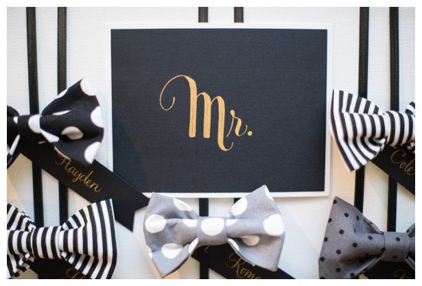 A dapper boy first birthday party bow tie bar! Black Matte Paper with Gold Calligraphy. Bow ties for each boy guest. Grey, White, and Black in pin stripes, polkadots.