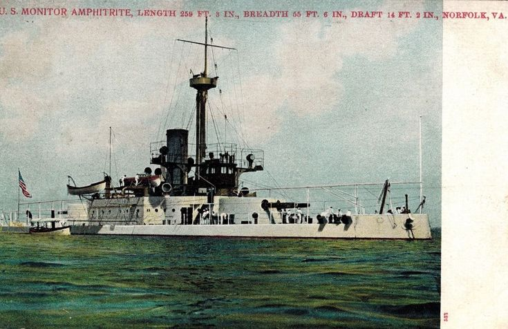 Nice US USS Monitor Amphitrite Poly Chrome Postcard A.C. Bosselman & Co. c1905