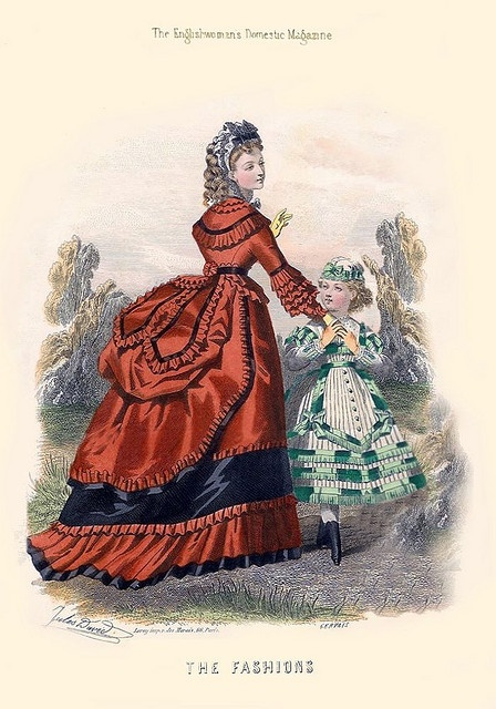 A fashion plate depicting an early bustle dress, dated 1869.