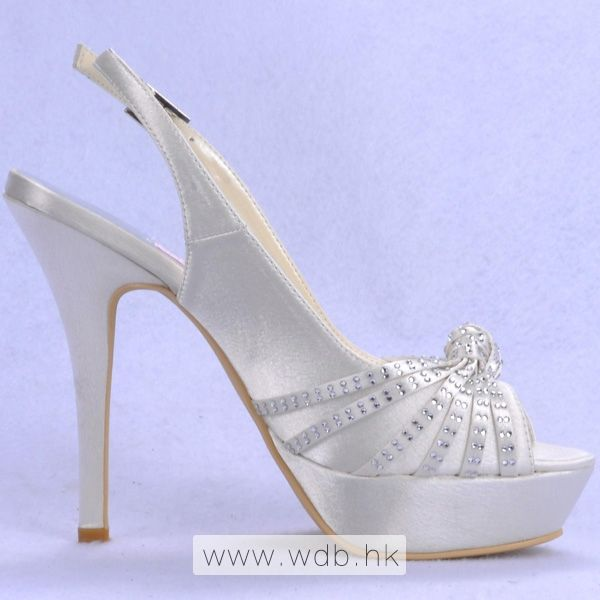 "Fancy 5"" Rhinestones Peep-toe Sandals - Ivory Satin Wedding Shoes (11 colors) $85.98"