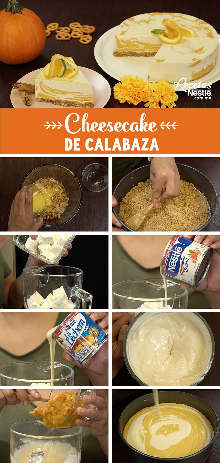 Sorprende a todos tus invitados de tu fiesta de #HALLOWEEN con este delicioso #CHEESECAKE de #CALABAZA Cheesecake Cake, Juice Drinks, Fat Foods, Mini Cheesecakes, Flan, Sweet Recipes, Cupcake Cakes, Deserts, Food And Drink