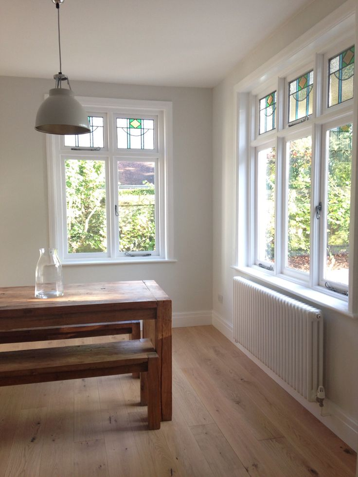 Dining room painted using farrow and ball strong white. Tedd Todd Classic Whinfell flooring. Original btc lighting.